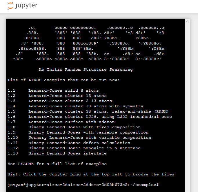 In-browser cloud-hosted AIRSS examples available